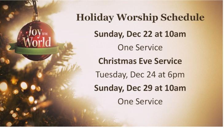 Holiday Worship Schedule
